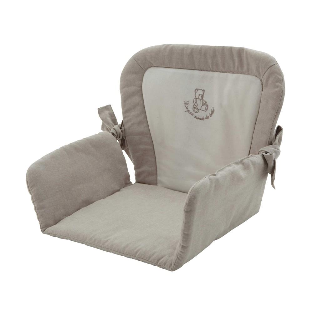 coussin de chaise haute pour b b en coton beige 25 x 30 cm ourson maisons du monde. Black Bedroom Furniture Sets. Home Design Ideas