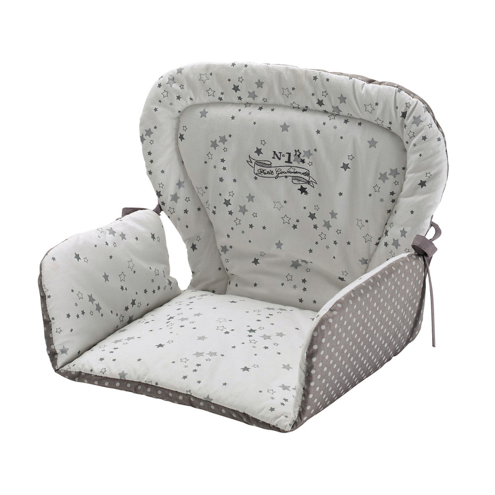 Coussin de chaise haute pour b b en coton blanche grise for Coussin de chaise haute