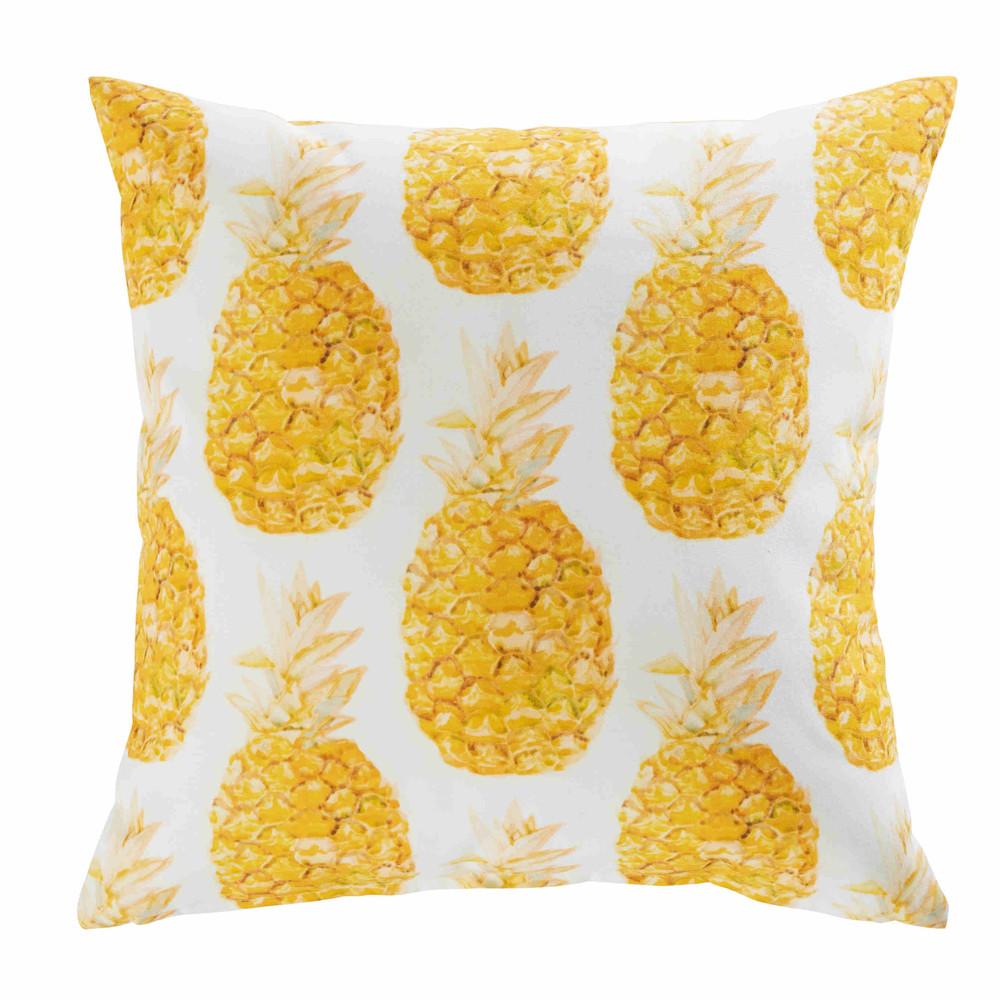 Coussin de jardin en tissu blanc imprim ananas 45x45cm for Tissu pour coussin exterieur