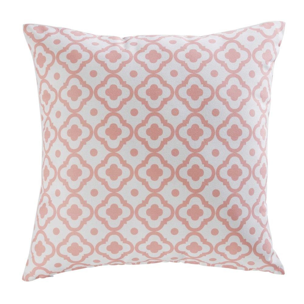 coussin de jardin en tissu imprim rose 45x45cm jane maisons du monde. Black Bedroom Furniture Sets. Home Design Ideas