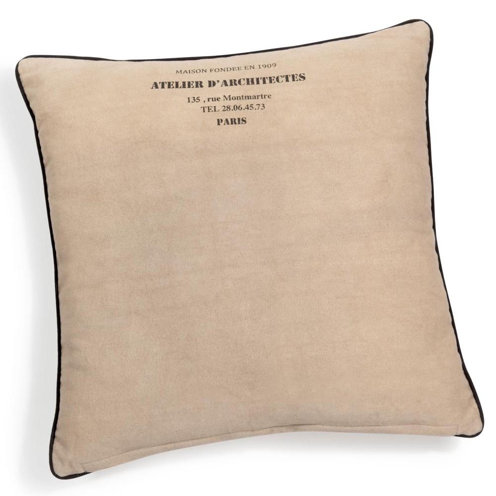 coussin en coton beige 60 x 60 cm atelier maisons du monde. Black Bedroom Furniture Sets. Home Design Ideas