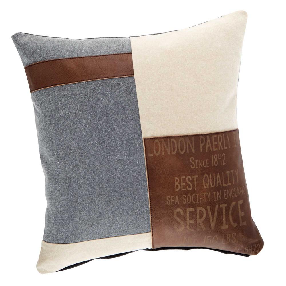 coussin en coton beige et marron 50 x 50 cm navy maisons. Black Bedroom Furniture Sets. Home Design Ideas