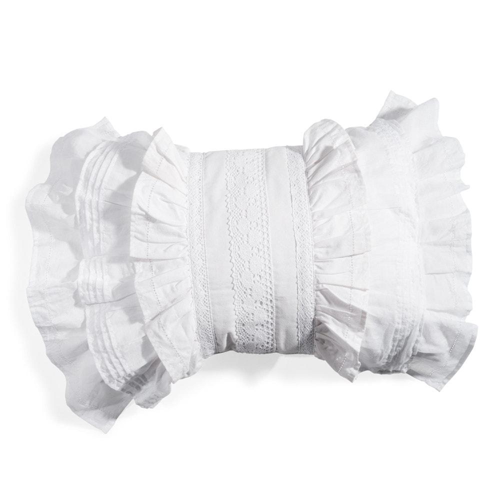 Coussin en coton blanc 35 x 50 cm garance maisons du monde - Coussin gris maison du monde ...