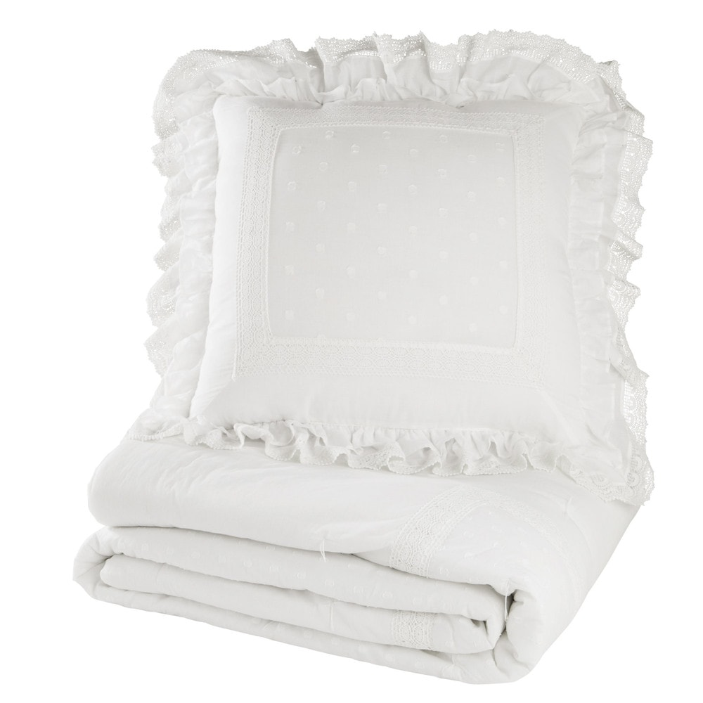 coussin en coton blanc 60 x 60 cm cl mence maisons du monde. Black Bedroom Furniture Sets. Home Design Ideas