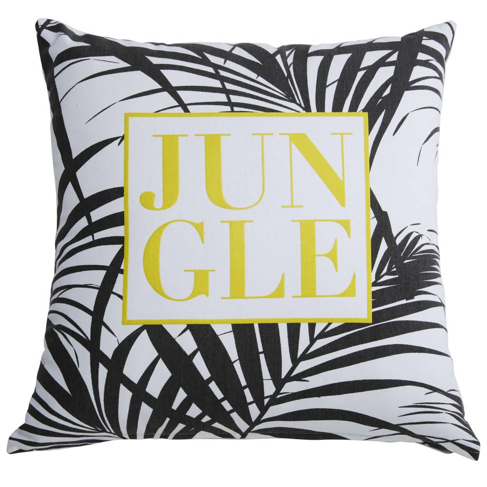 coussin en coton blanc imprim jaune et noir 45x45cm jungle maisons du monde. Black Bedroom Furniture Sets. Home Design Ideas