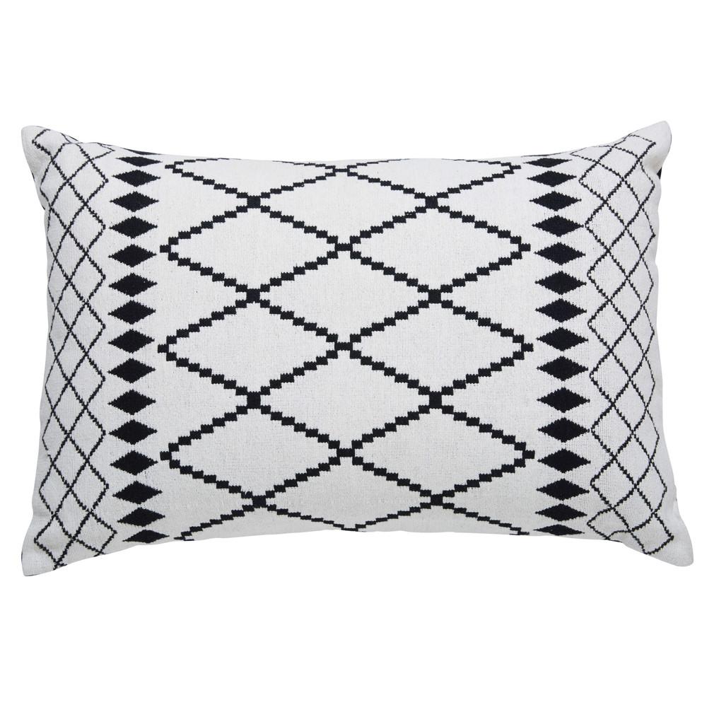 coussin en coton blanc motifs noirs 40x60cm cora maisons du monde. Black Bedroom Furniture Sets. Home Design Ideas