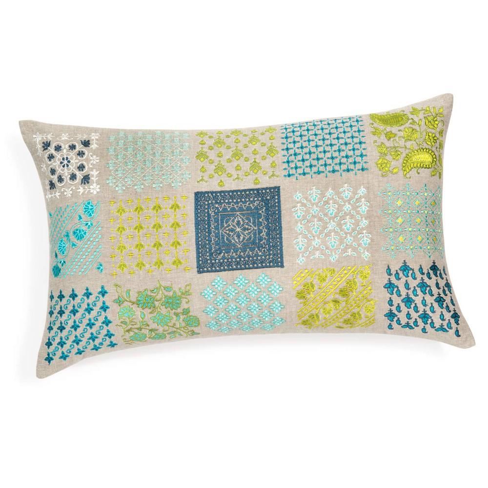 coussin en coton bleu vert 30 x 50 cm mai maisons du monde. Black Bedroom Furniture Sets. Home Design Ideas