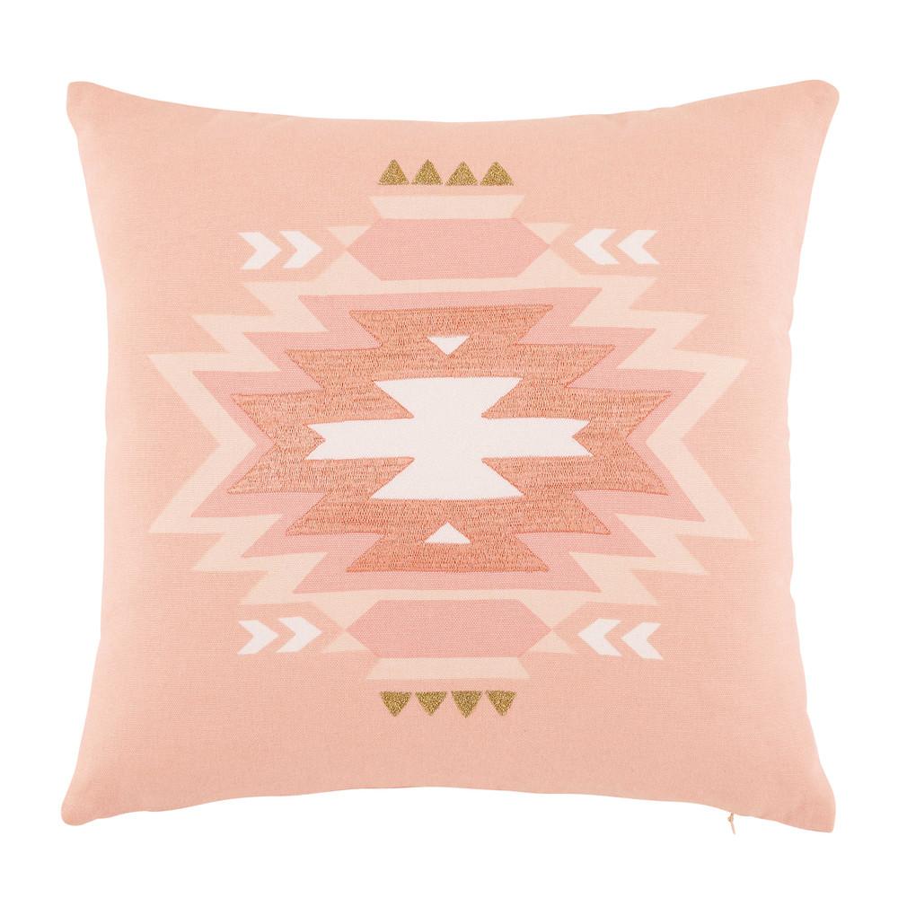 coussin en coton corail motifs ethniques 40x40cm coloradas. Black Bedroom Furniture Sets. Home Design Ideas