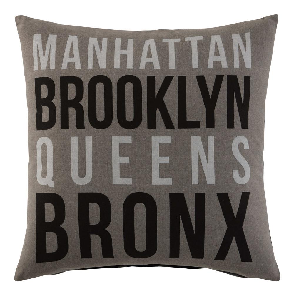coussin en coton gris noir 50 x 50 cm skyline maisons du. Black Bedroom Furniture Sets. Home Design Ideas