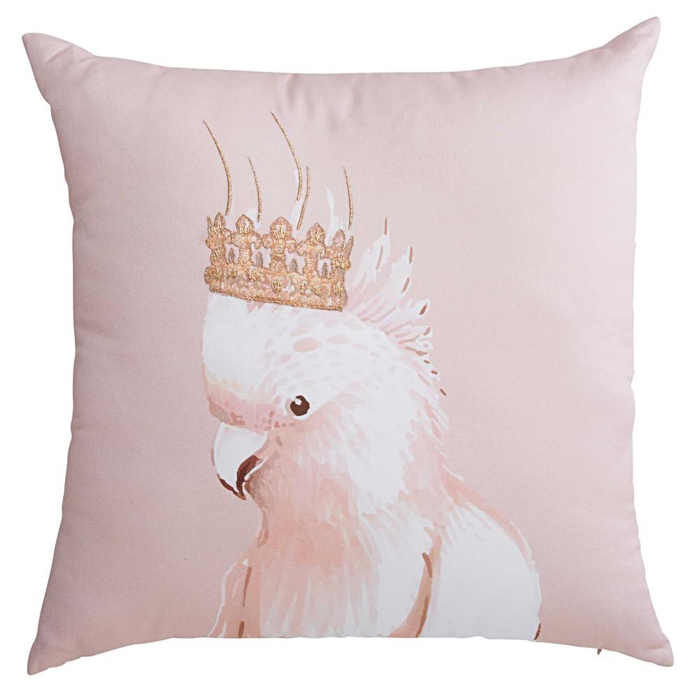 Coussin en coton imprim rose pastel 45x45cm king cacatoes maisons du monde - Coussin rose maison du monde ...
