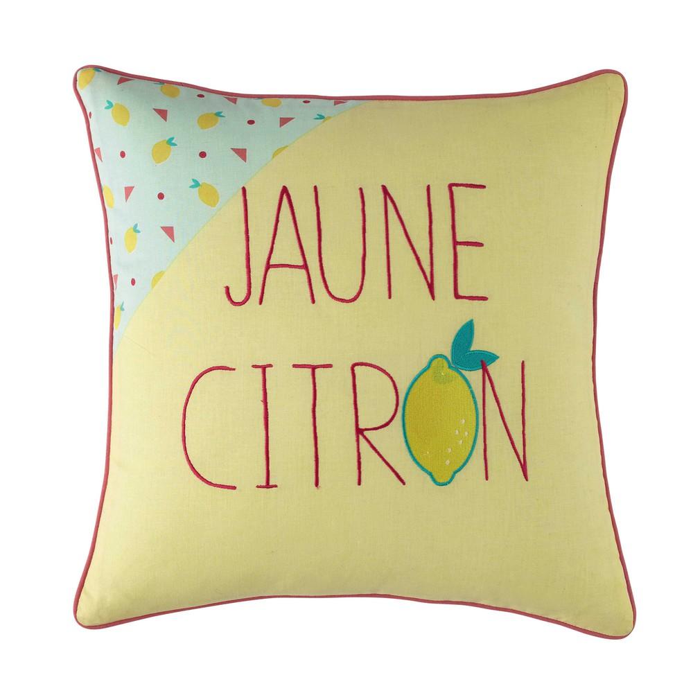 coussin en coton jaune 40 x 40 cm lemon maisons du monde. Black Bedroom Furniture Sets. Home Design Ideas