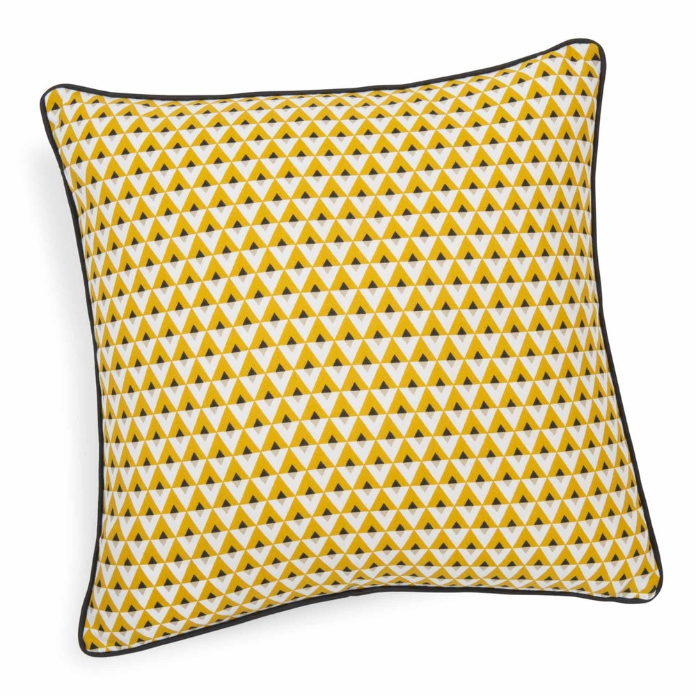 coussin en coton jaune 50 x 50 cm hilton maisons du monde. Black Bedroom Furniture Sets. Home Design Ideas