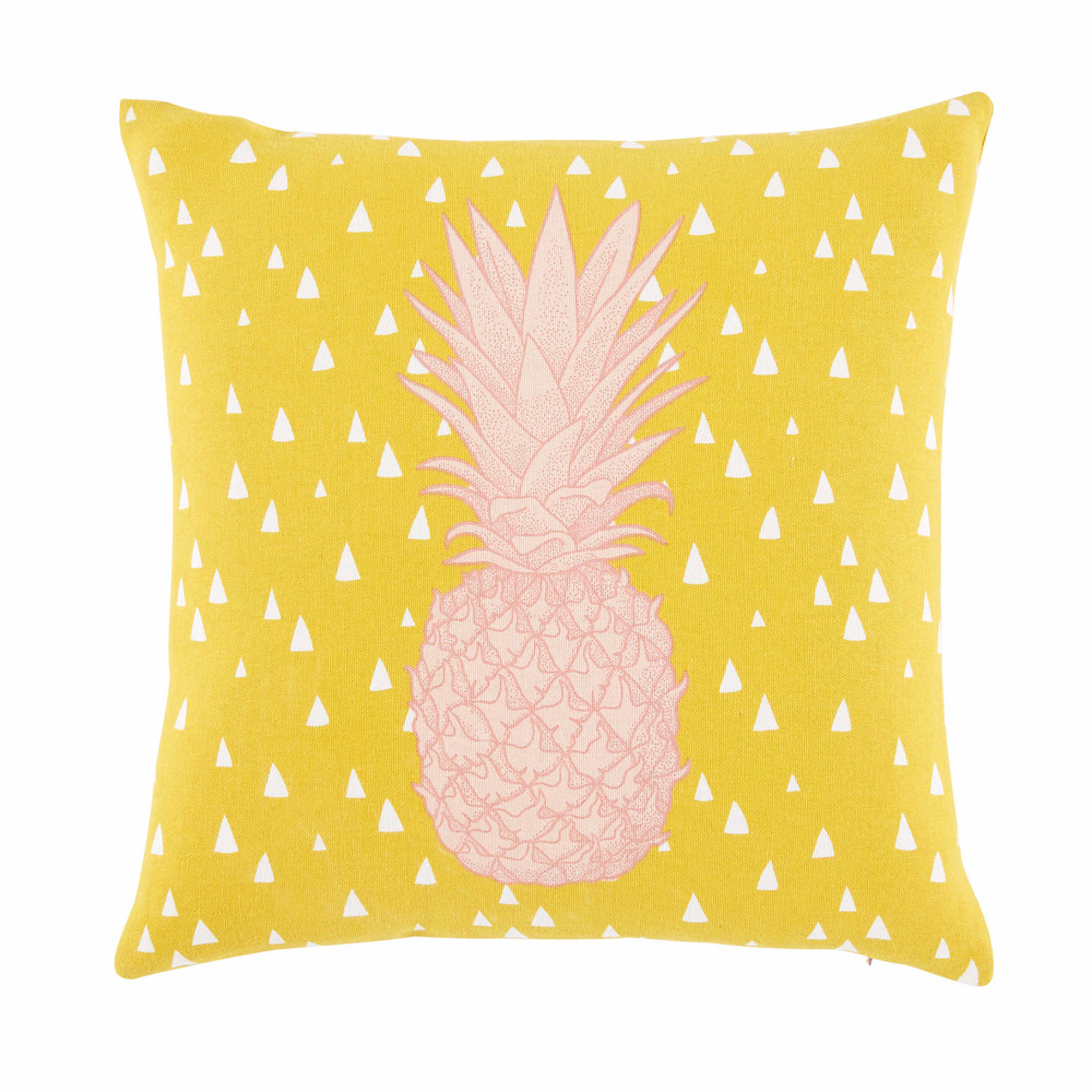 coussin en coton jaune moutarde imprim ananas 40x40cm coba maisons du monde. Black Bedroom Furniture Sets. Home Design Ideas