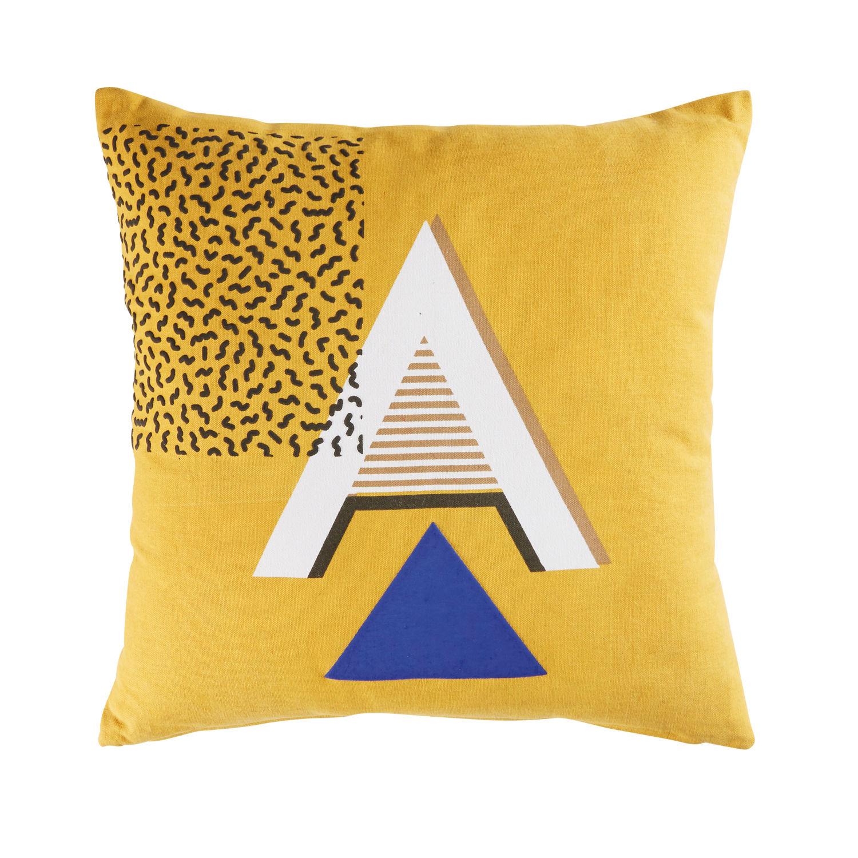 coussin en coton jaune moutarde motifs graphiques 45x45 andrea
