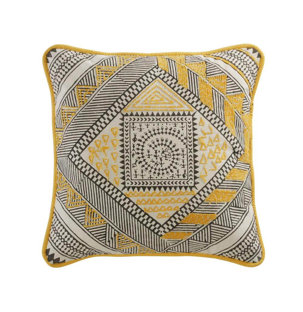 coussin en coton jaune noir 30 x 30 cm bomane maisons du monde. Black Bedroom Furniture Sets. Home Design Ideas