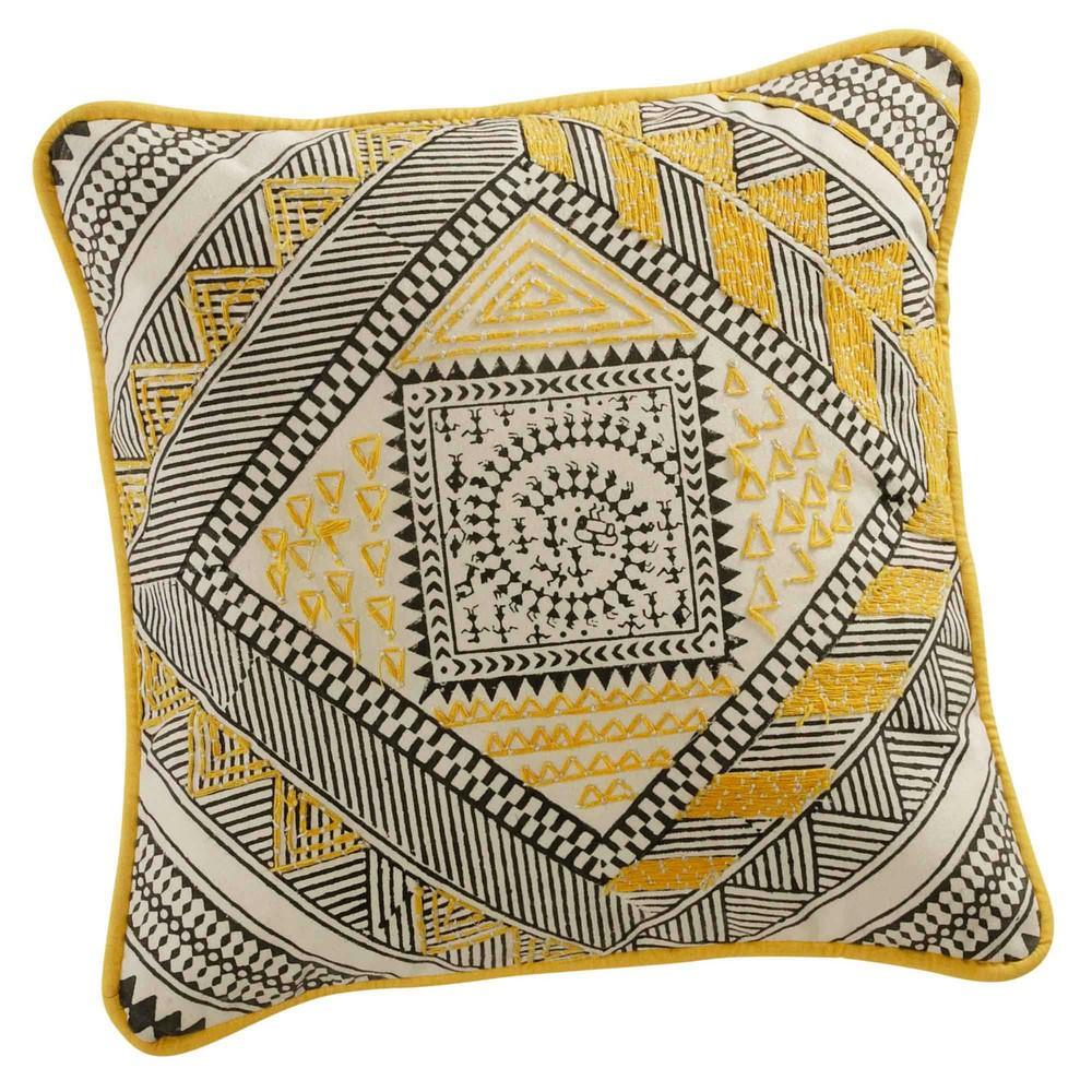 coussin en coton jaune noir 30 x 30 cm bomane maisons du. Black Bedroom Furniture Sets. Home Design Ideas