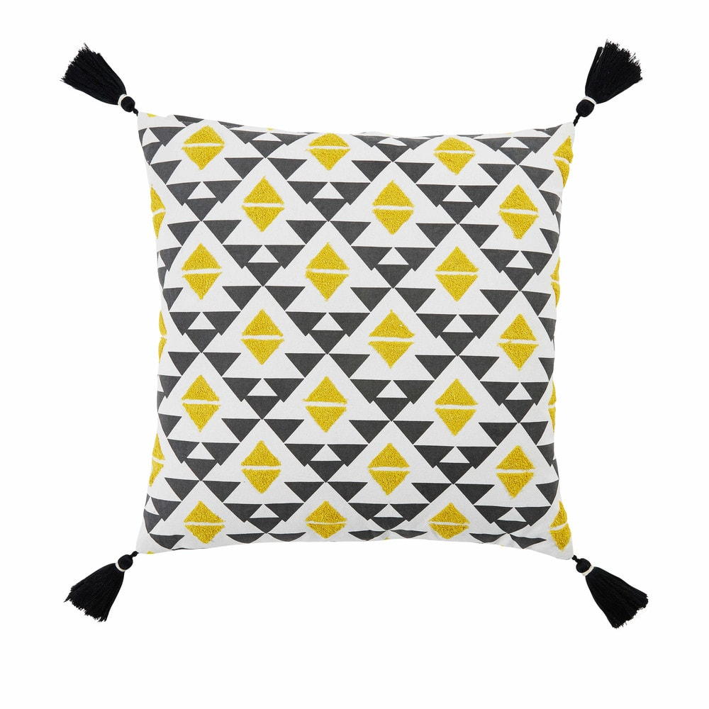 coussin en coton noir et jaune 45x45cm jangal maisons du monde. Black Bedroom Furniture Sets. Home Design Ideas