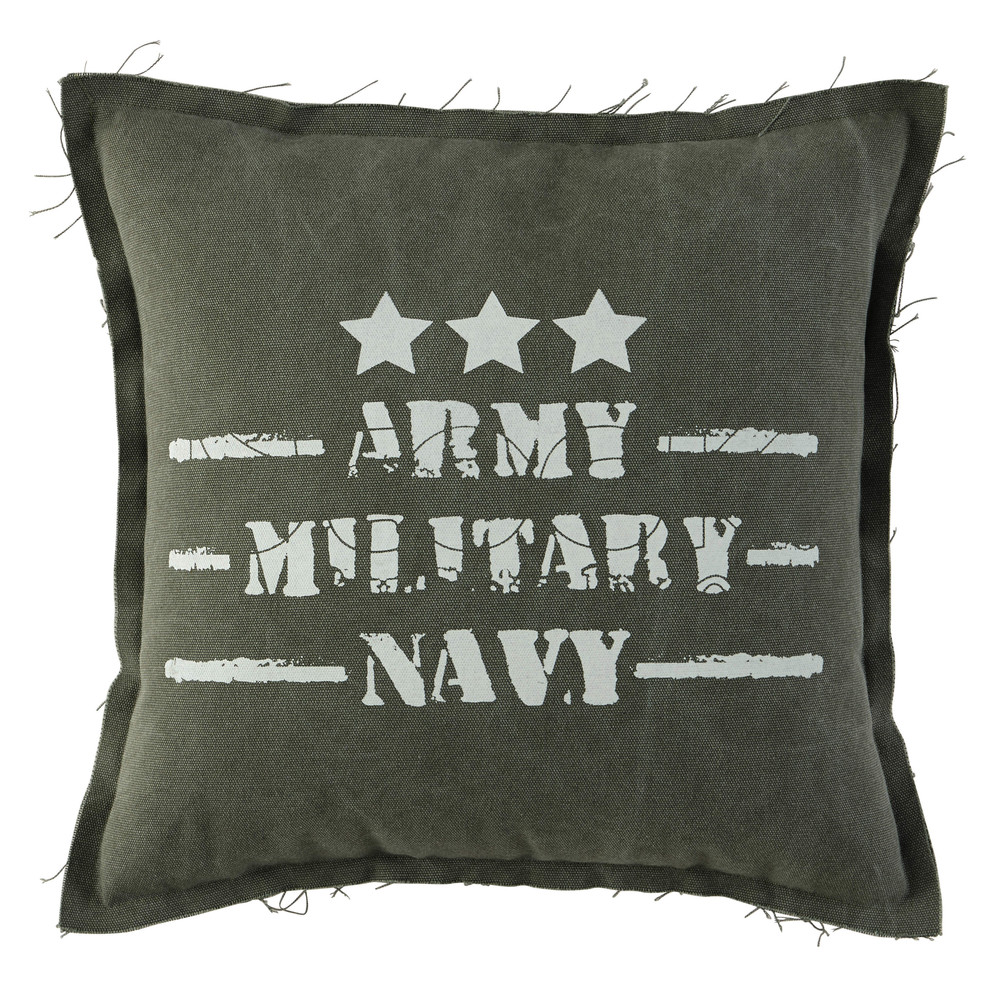 coussin en coton vert 45 x 45 cm army maisons du monde. Black Bedroom Furniture Sets. Home Design Ideas