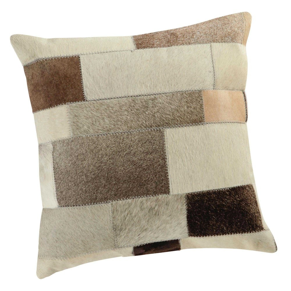 coussin en cuir et coton beige 40 x 40 cm arty maisons du monde. Black Bedroom Furniture Sets. Home Design Ideas