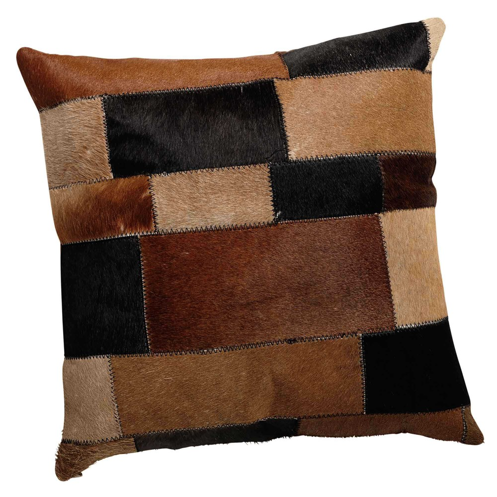 coussin en cuir et coton marron 40 x 40 cm arty maisons du monde. Black Bedroom Furniture Sets. Home Design Ideas
