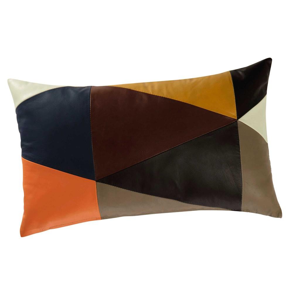 coussin en cuir multicolore 30 x 50 cm vobano maisons du. Black Bedroom Furniture Sets. Home Design Ideas