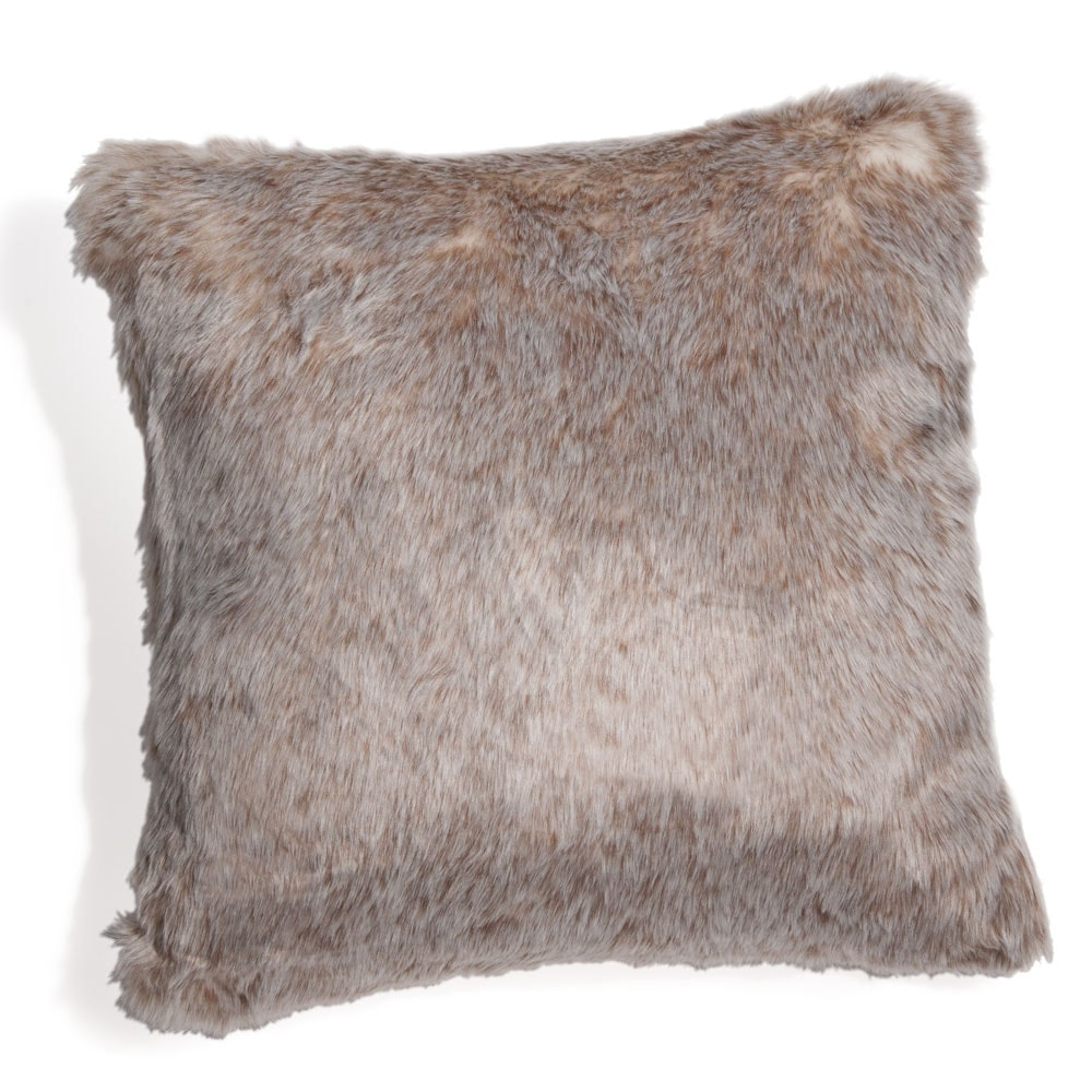 coussin en fausse fourrure beige 45 x 45 cm neige. Black Bedroom Furniture Sets. Home Design Ideas