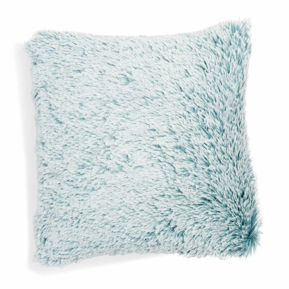 coussin en fausse fourrure bleu 45 x 45 cm valdisere maisons du monde. Black Bedroom Furniture Sets. Home Design Ideas