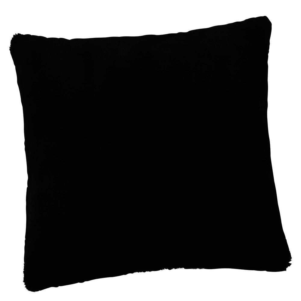 coussin en fausse fourrure noir 45 x 45 cm soho maisons du monde. Black Bedroom Furniture Sets. Home Design Ideas