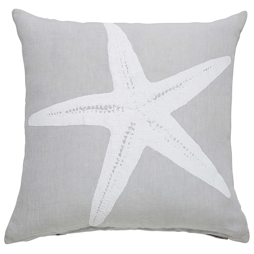 coussin en lin gris imprim toile de mer 45x45cm starfish maisons du monde. Black Bedroom Furniture Sets. Home Design Ideas