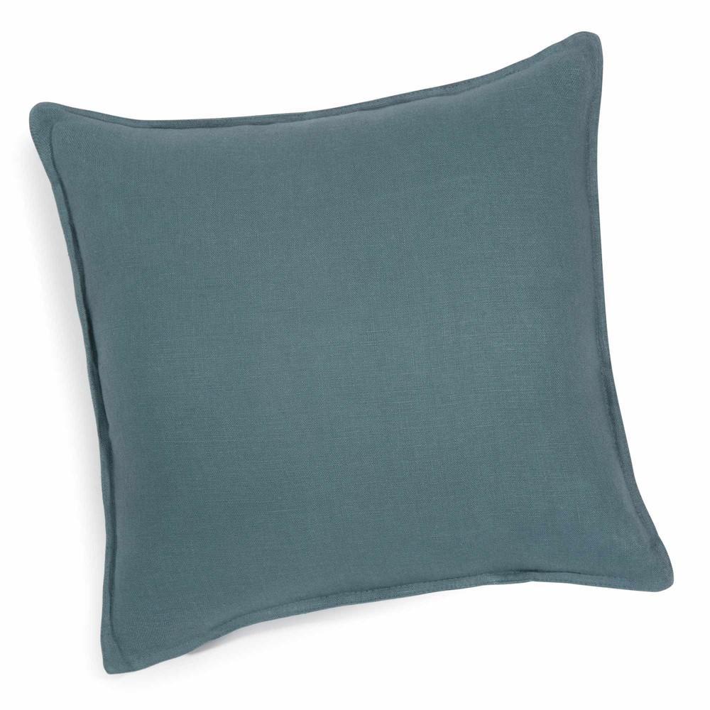 coussin en lin lav bleu p trole 60 x 60 cm maisons du monde. Black Bedroom Furniture Sets. Home Design Ideas