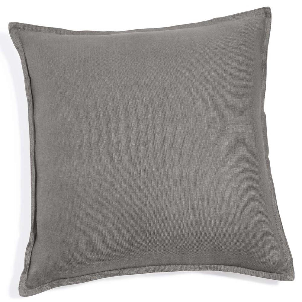 coussin en lin lav gris 60 x 60 cm maisons du monde. Black Bedroom Furniture Sets. Home Design Ideas