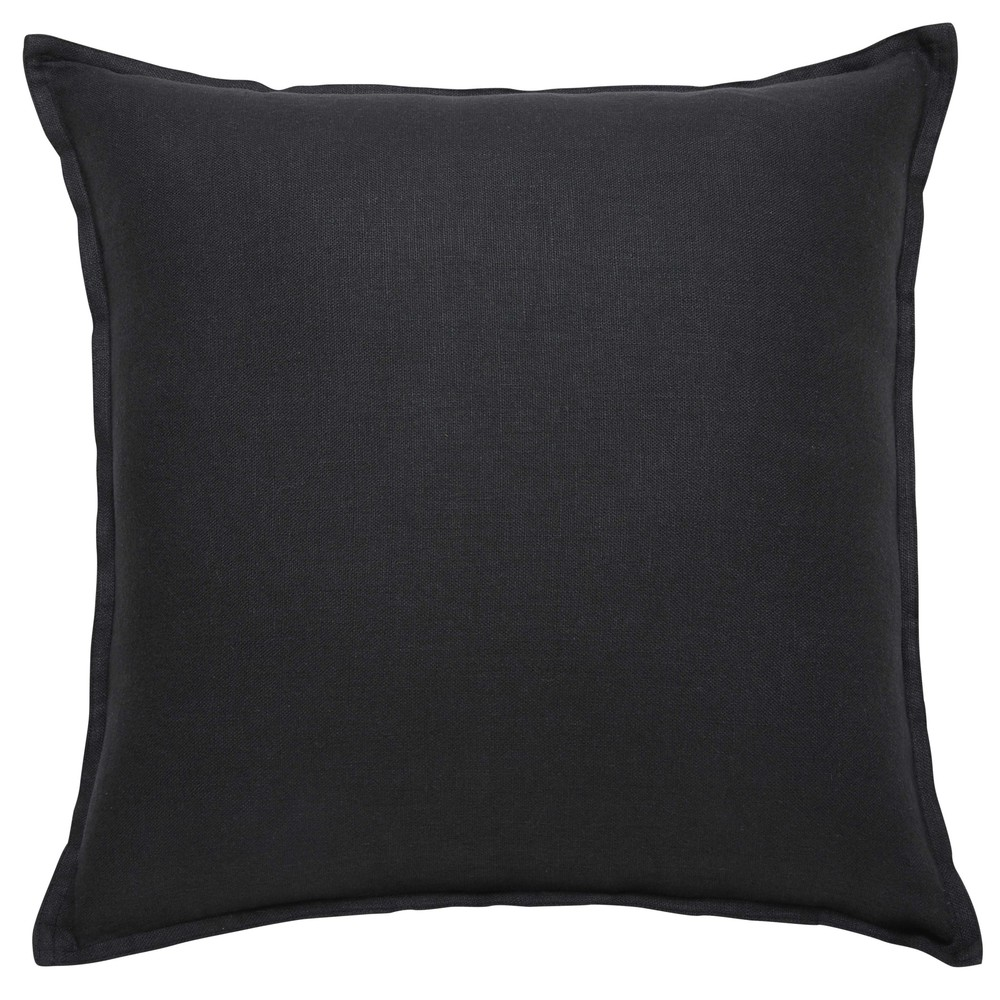 coussin en lin lav gris charbon 60x60 maisons du monde. Black Bedroom Furniture Sets. Home Design Ideas
