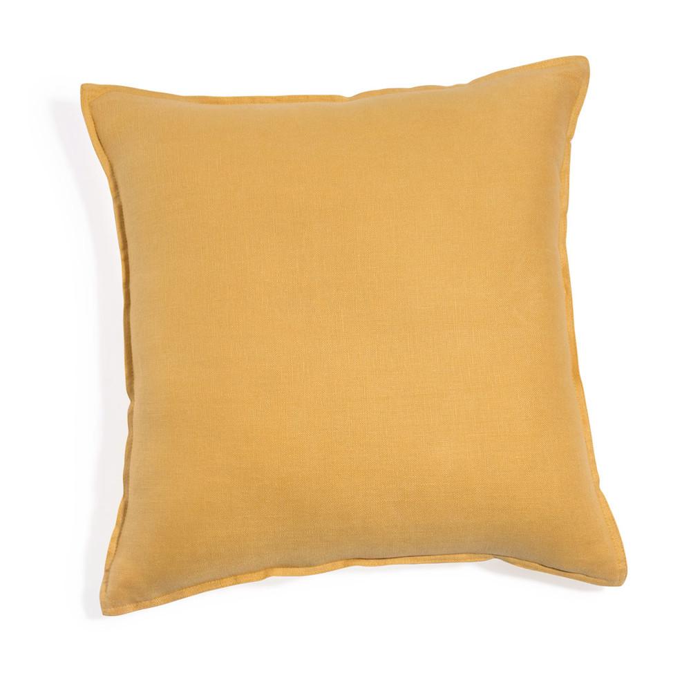 coussin en lin lav jaune 45 x 45 cm maisons du monde. Black Bedroom Furniture Sets. Home Design Ideas