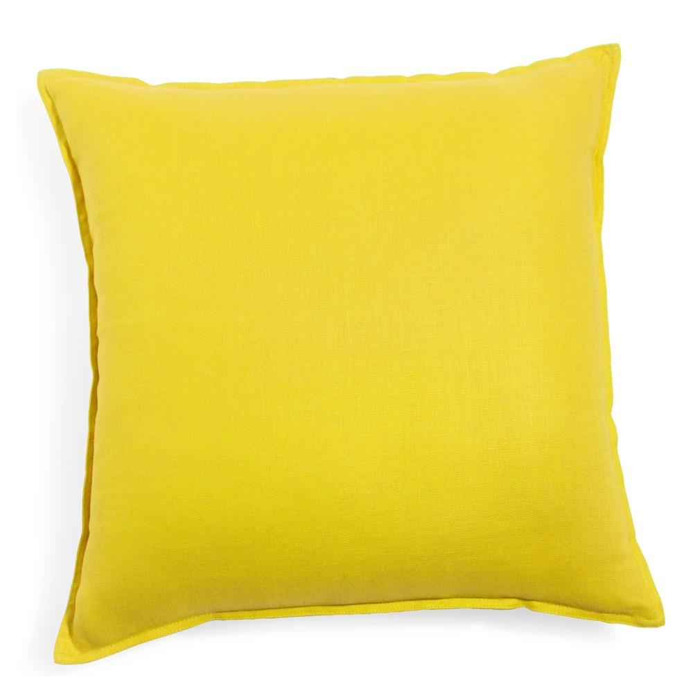 coussin en lin lav jaune 50 x 50 cm maisons du monde. Black Bedroom Furniture Sets. Home Design Ideas