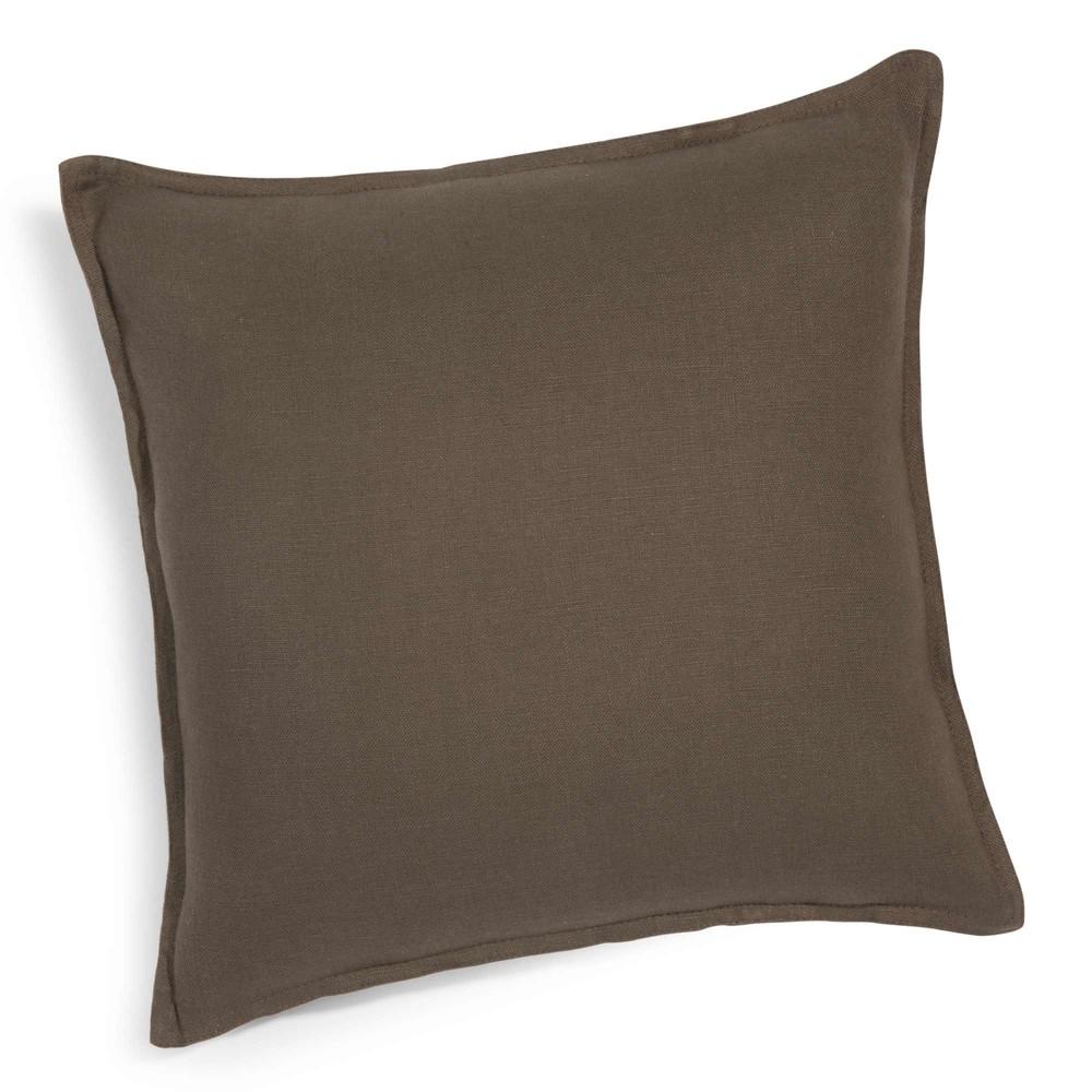 coussin en lin lav marron 60 x 60 cm maisons du monde. Black Bedroom Furniture Sets. Home Design Ideas