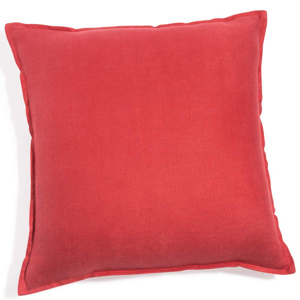 coussin en lin lav rouge 60 x 60 cm maisons du monde. Black Bedroom Furniture Sets. Home Design Ideas