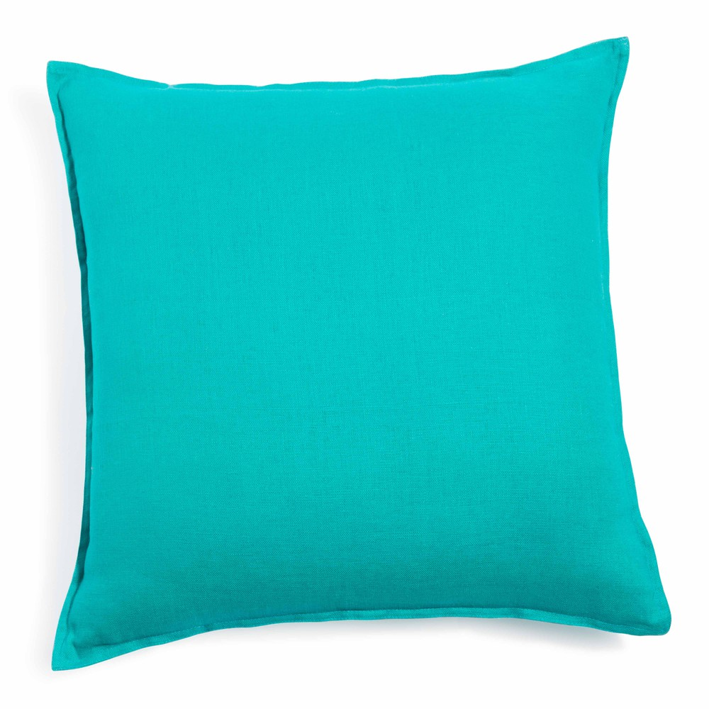 coussin en lin lav turquoise 50 x 50 cm maisons du monde. Black Bedroom Furniture Sets. Home Design Ideas