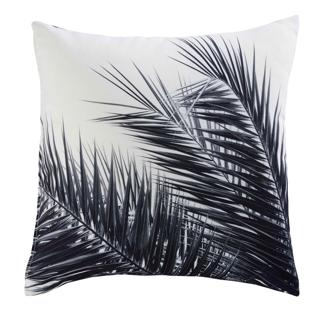 coussin en tissu noir et blanc imprim palmier 45x45cm. Black Bedroom Furniture Sets. Home Design Ideas