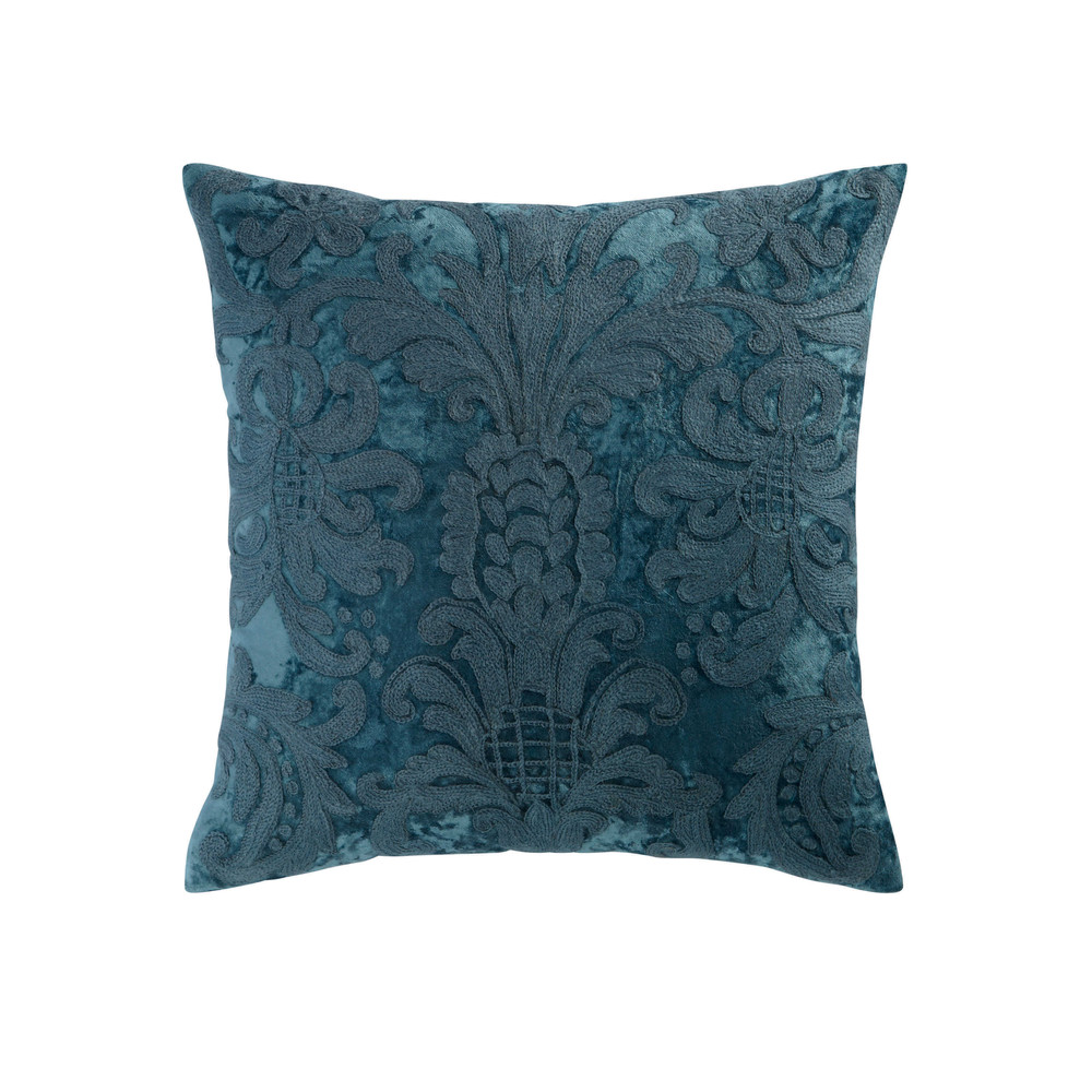 coussin en velours et laine brod bleu 45 x 45 cm peruge maisons du monde. Black Bedroom Furniture Sets. Home Design Ideas