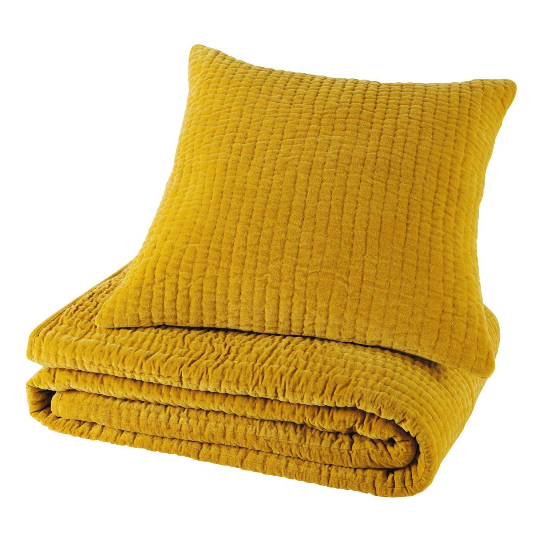 coussin en velours piqué jaune moutarde 60 x 60 cm | maisons du monde