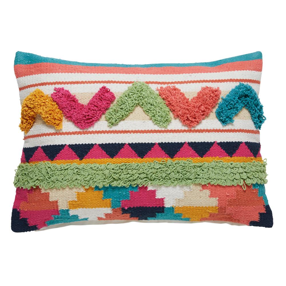 coussin ethnique en coton multicolore 35x50cm picchu. Black Bedroom Furniture Sets. Home Design Ideas