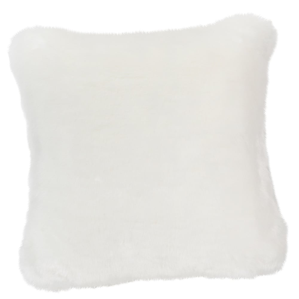 coussin fausse fourrure blanc 45 x 45 cm snowdown maisons du monde. Black Bedroom Furniture Sets. Home Design Ideas
