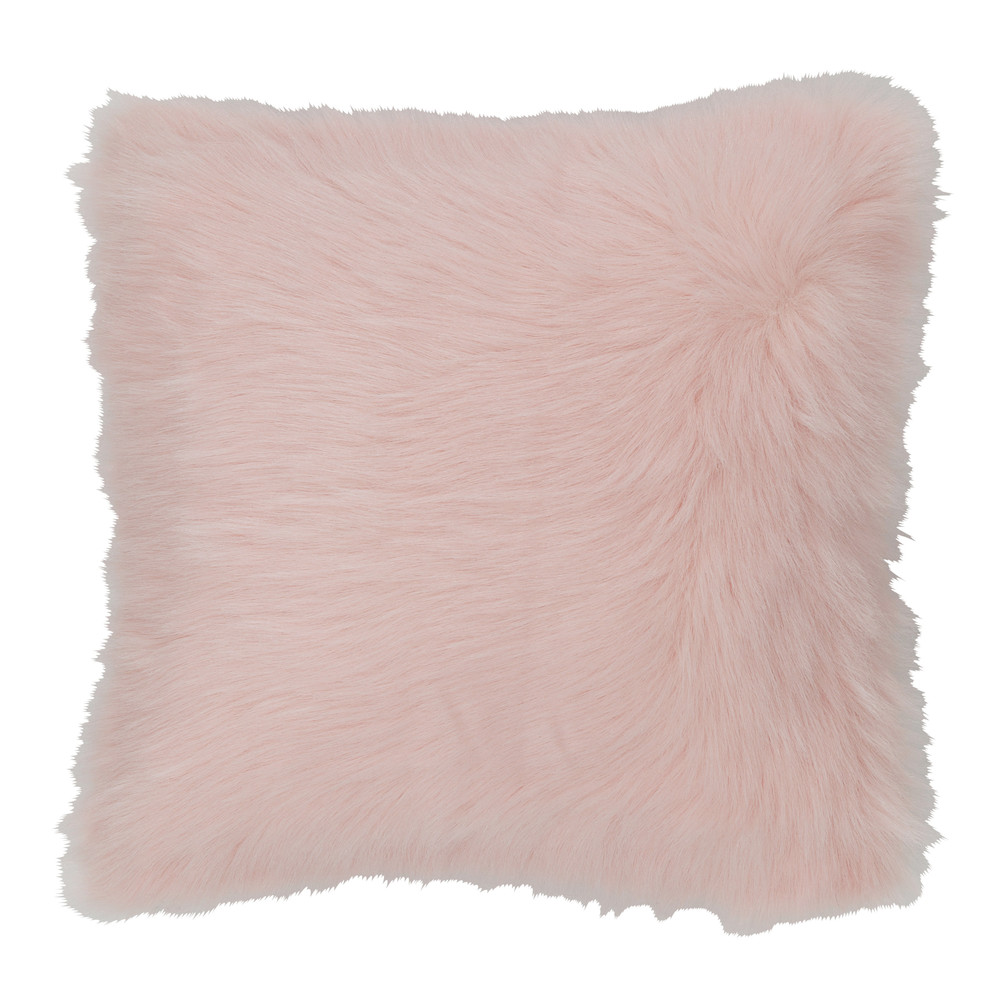 coussin fausse fourrure rose 45 x 45 cm oumka maisons du monde. Black Bedroom Furniture Sets. Home Design Ideas