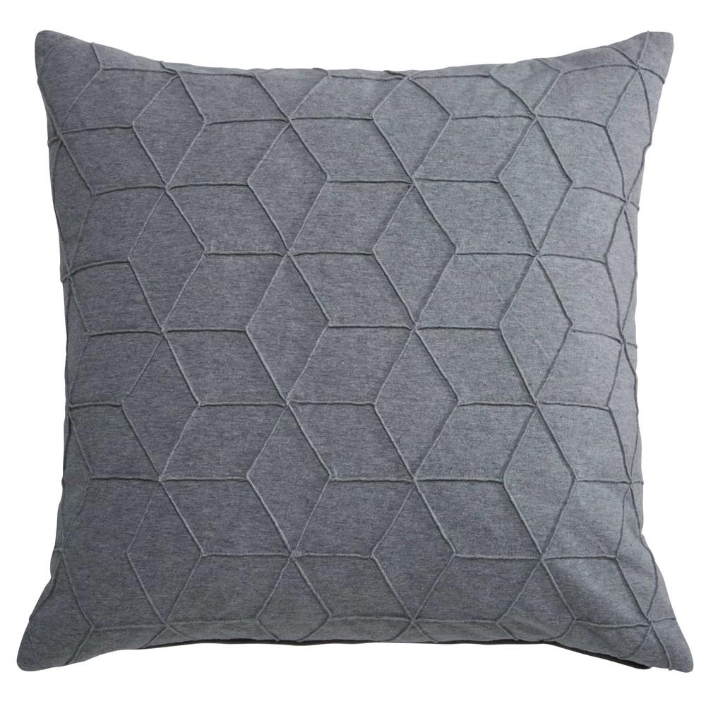 coussin graphique en coton gris 45x45cm cubia maisons du monde. Black Bedroom Furniture Sets. Home Design Ideas