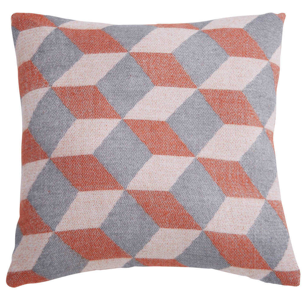 coussin graphique en tissu orange et gris 45x45cm cubissa maisons du monde. Black Bedroom Furniture Sets. Home Design Ideas