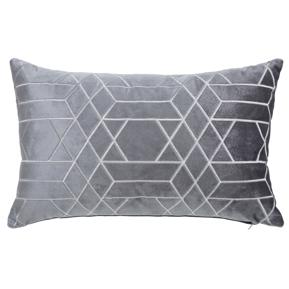 coussin graphique gris anthracite 30x50cm zola maisons du monde. Black Bedroom Furniture Sets. Home Design Ideas