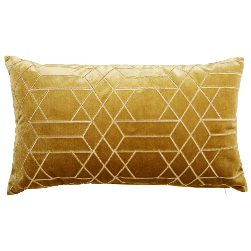 coussin graphique jaune moutarde 30x50cm zola maisons du. Black Bedroom Furniture Sets. Home Design Ideas