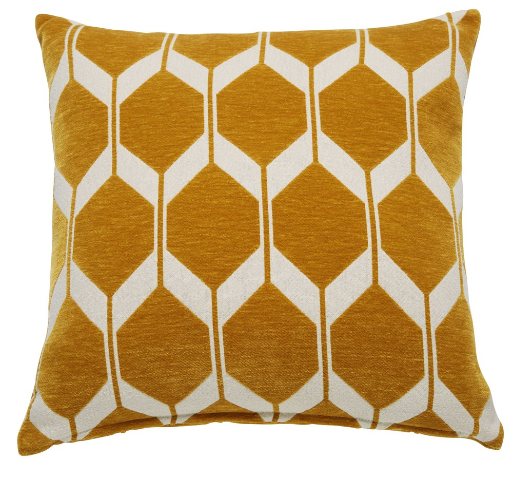 coussin graphique jaune moutarde et blanc 45x45cm aston maisons du monde. Black Bedroom Furniture Sets. Home Design Ideas