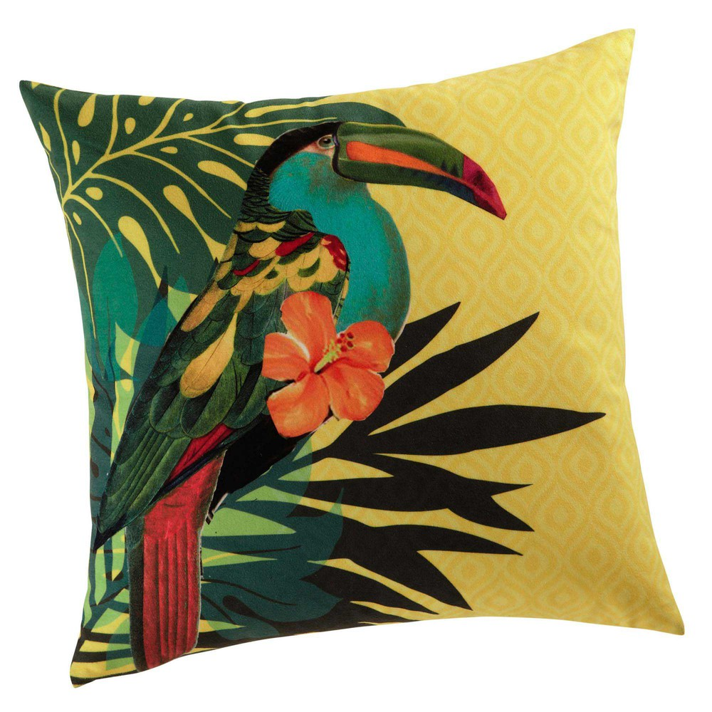 coussin jaune 45 x 45 cm toucan maisons du monde. Black Bedroom Furniture Sets. Home Design Ideas