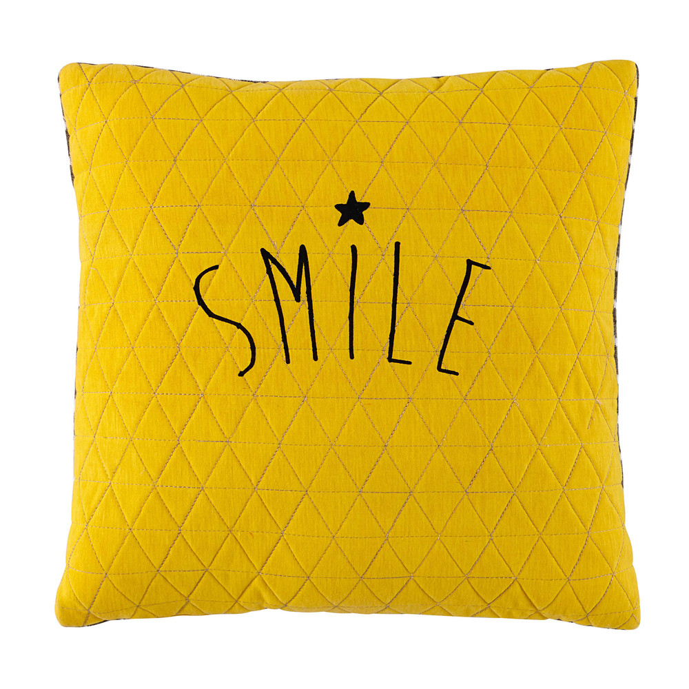 coussin jaune gris 40 x 40 cm smile maisons du monde. Black Bedroom Furniture Sets. Home Design Ideas